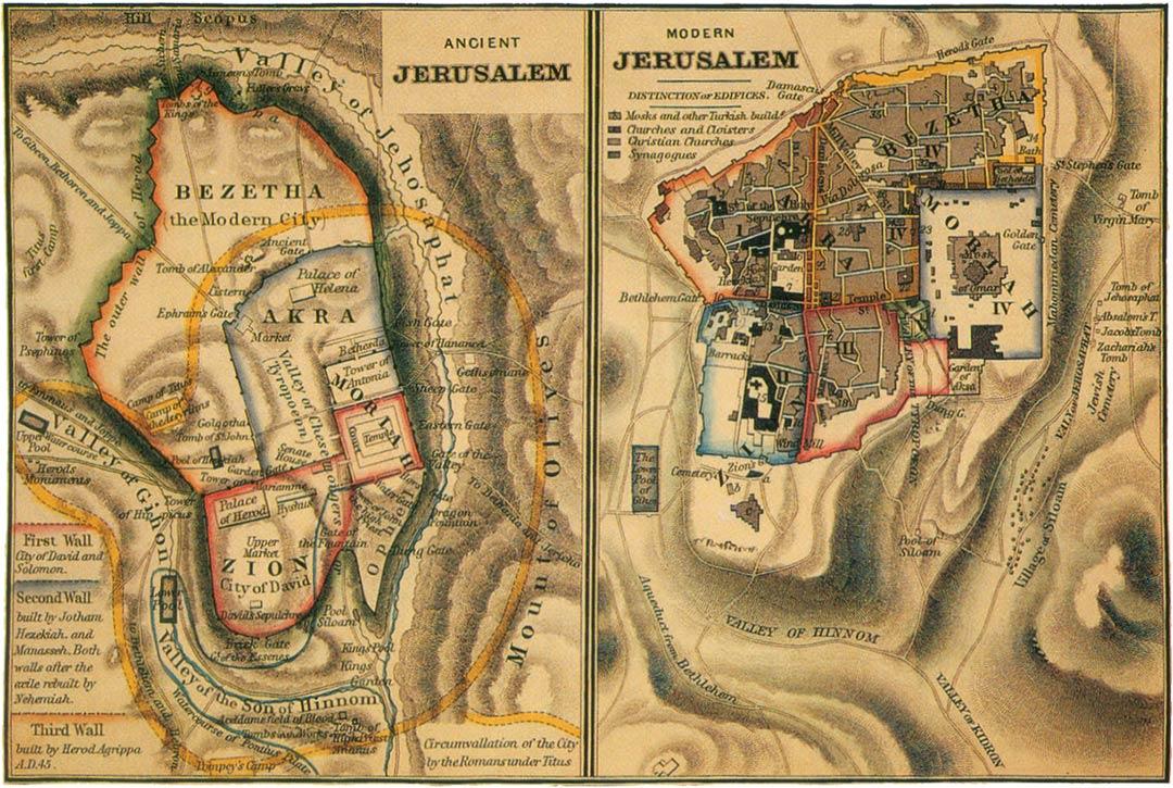 Map of ancient Jerusalem next to map of modern Jerusalem